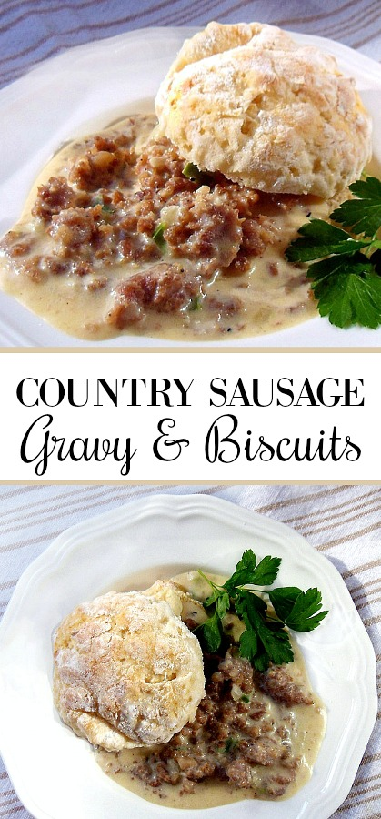 sy recipe for Country Sausage Gravy on Biscuits. Make the country sausage gravy and serve with sweet cream biscuits for southern breakfast goodness.