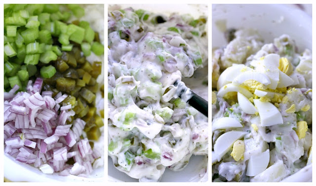 This recipe for old-fashioned potato salad is far from boring. Lots of flavor from sweet gherkin pickles, celery, onion & eggs. A classic barbecue favorite!