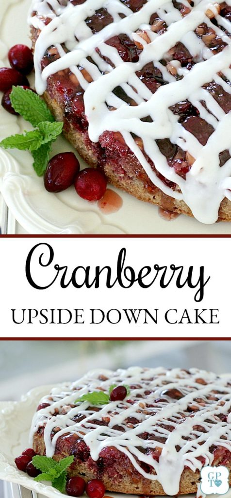 Cranberry upside downer is a bright, jewel-tone cake brimming with cranberries, autumn spices and nuts. A perfect ending for your Thanksgiving dinner.