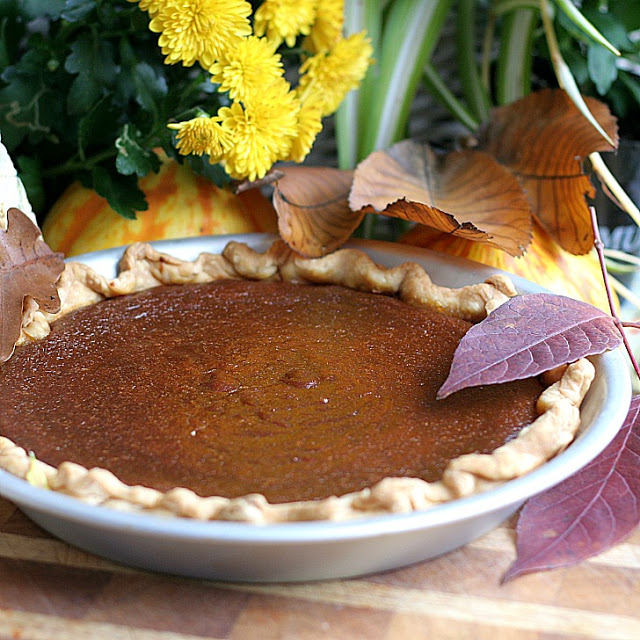 Delicious caramel pumpkin pie for your Thanksgiving dessert table. Caramelized sugar laces this classic pie that is rich, light and delicately spiced.