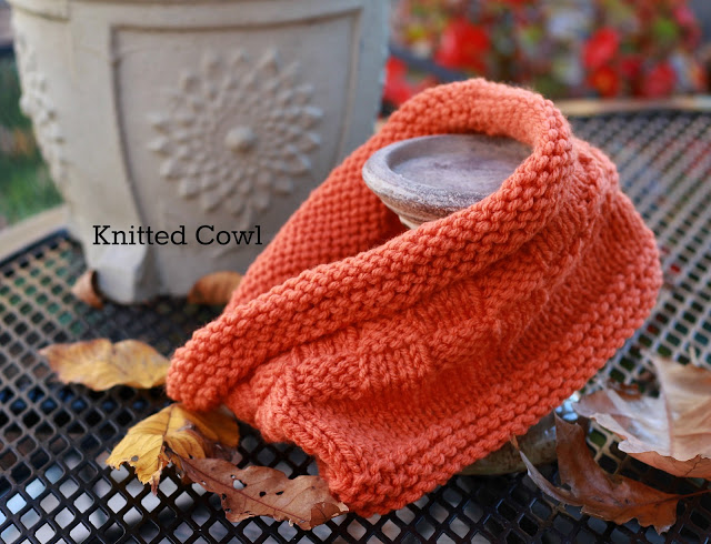 warn and cozy knitted cowl in gorgeous autumn orange