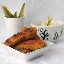 Breaded and Fried Tilapia Fish Sticks