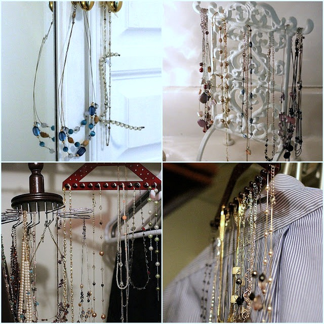 No more hassle with tangled necklaces and bracelets! Perfect DIY wall-mounted necklace Jewelry organizer keeps every piece handy and looks great too!