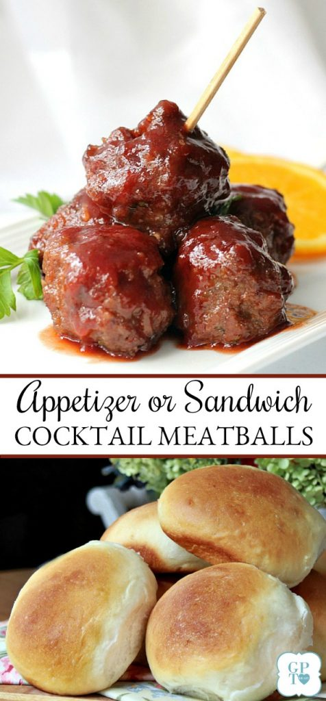 Easy and popular cocktail meatballs are perfect for entertaining, bridal showers, tailgating and even on dinner rolls as a sandwich.
