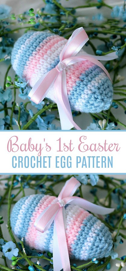 Quick and easy crochet Easter egg can be made in any color or yarn. Make one in soft pink and blue for a new baby keepsake. Fill a pretty bowl or basket with eggs crocheted in springtime colors for a beautiful holiday decoration. Free pattern and crochet terms printable.