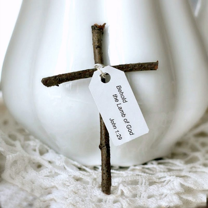 "Make a humble little wooden cross from sticks gathered from your yard. Attach a tag with the bible verse from Luke 2:11, ""a Savior has been born to you"", as you celebrate Easter and Christmas. It is a sweet and easy holiday craft to make for kids."