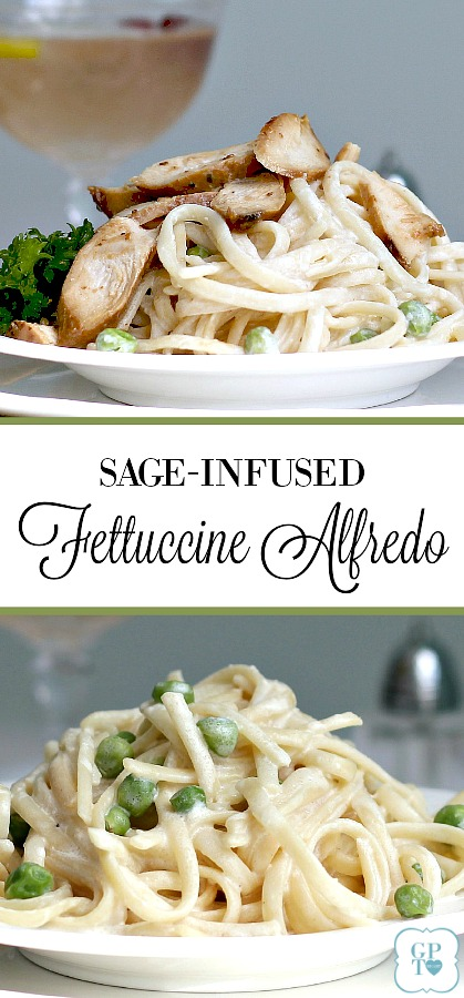 Sage-infused Fettuccine Alfredo is an easy recipe for a lighter, healthier version of Fettuccine Alfredo. Serve with a crisp salad or topped with grilled chicken for a lovely Easter dinner, romantic Valentine's Day or whenever you want a special pasta meal.