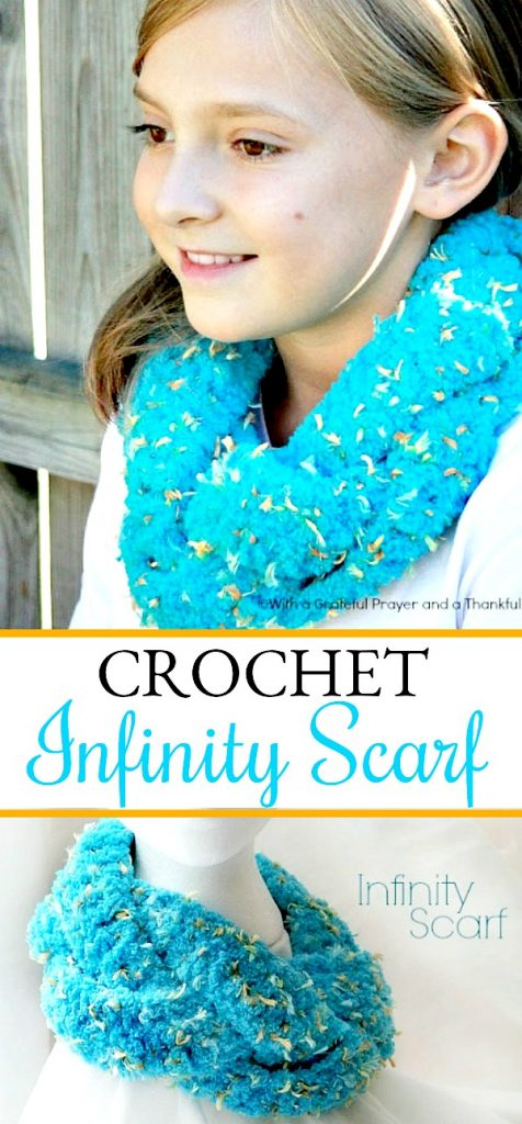 Easy pattern for crochet infinity braided scarf. Three strips worked in basic crochet stitches, braided and stitched together. Very adaptable pattern.