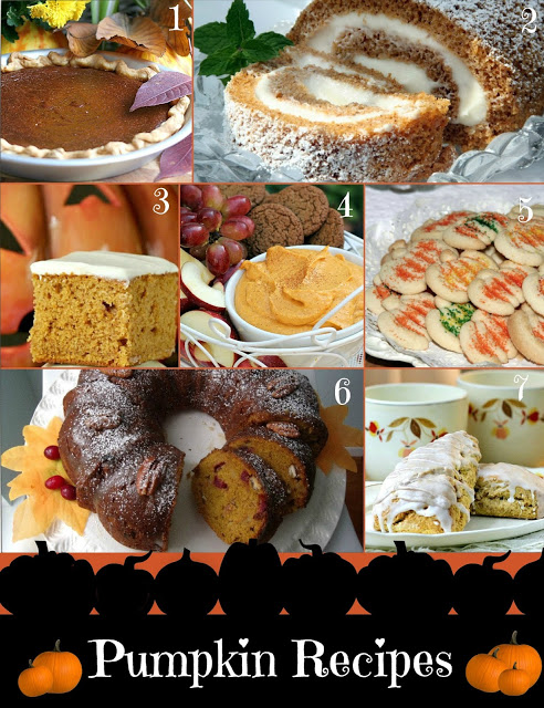 A patch of pumpkin recipes! Including pumpkin pie, pumpkin bars, Bundt cake, dip, scones, cookies and, Pumpkin Roll for autumn and Thanksgiving.