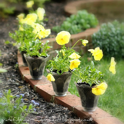 up-cycled, recycled, re-purposed glass globes become flower pots.
