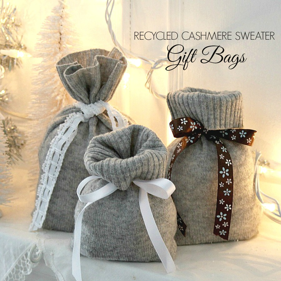 Recycled, cashmere sweater Christmas, reusable gift bags are useful and so pretty. Easy instructions to make using thrift store knitted sweaters.