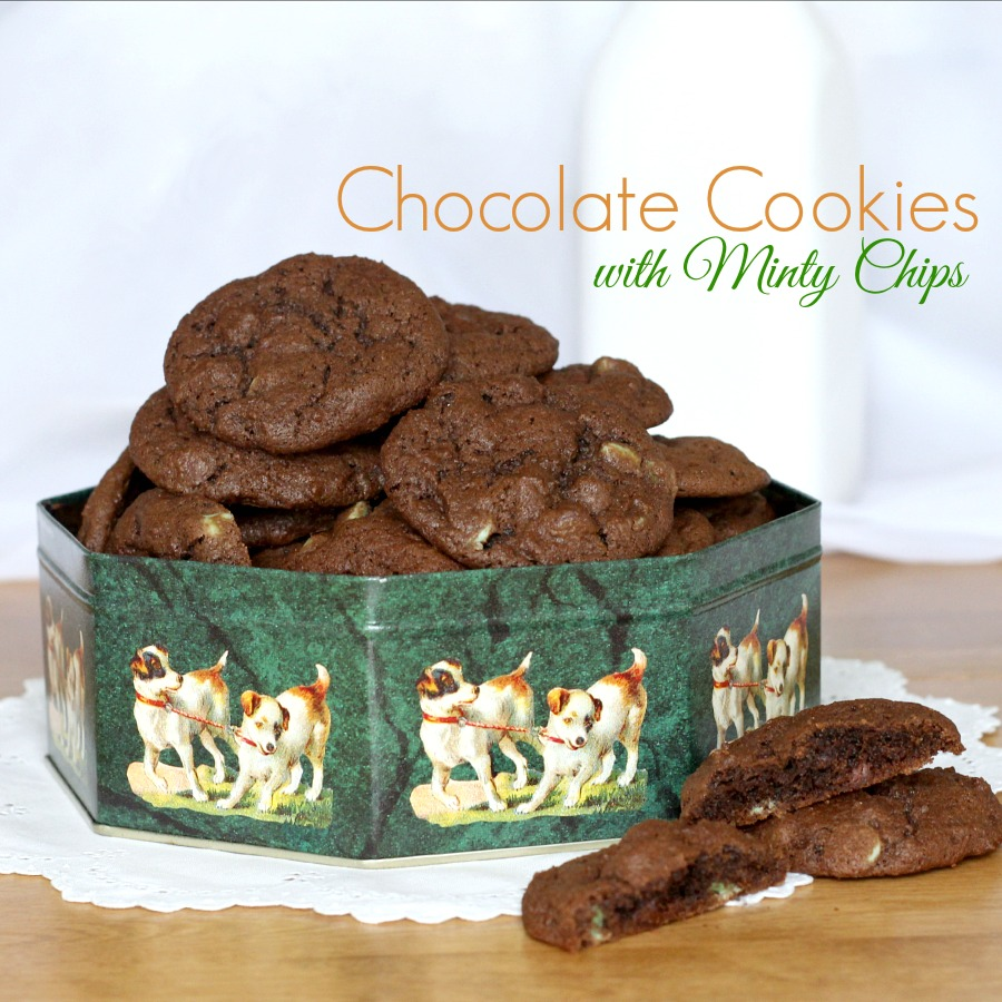Easy recipe for Chocolate Cookies with Minty Chips. These chocolaty cookies with dark chocolate and mint chips are perfect any time of year but especially nice for St Patrick's Day celebrating.