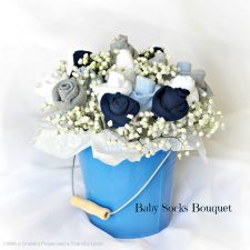 Baby Socks Rose Bud Flower Bouquet