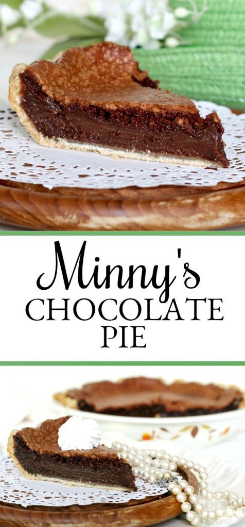"Decadent Minny's chocolate pie is made popular by the book by Kathryn Socket, ""The Help"". It is easy to make and perfectly delicious using regular ingredients."