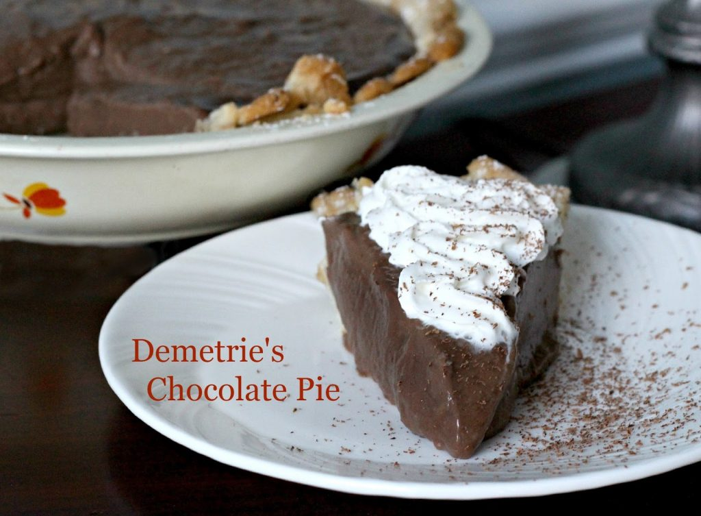 "Decadent Demetrie's chocolate pie is made popular by the book by Kathryn Socket, ""The Help"". It is easy to make and perfectly delicious using regular ingredients."