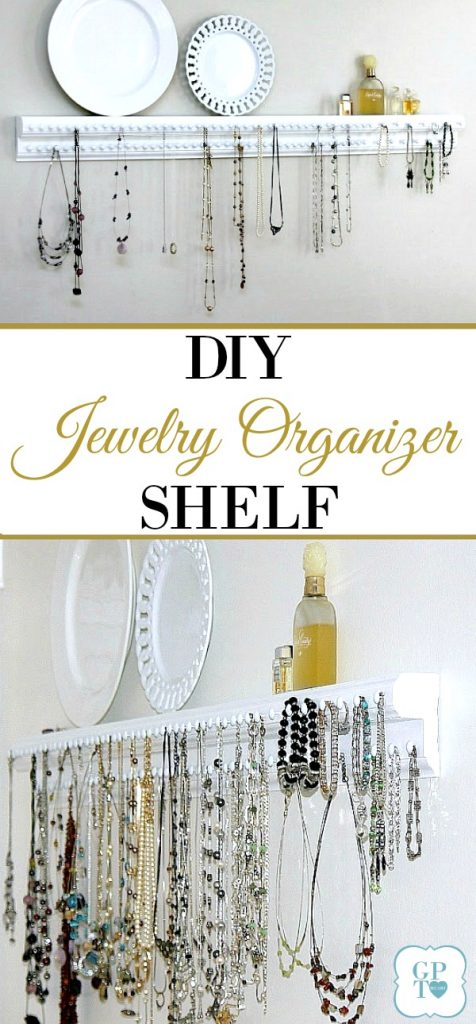 DIY wooden wall jewelry shelf organizer has plenty of hooks to keep necklaces and bracelets from tangling and within easy reach.