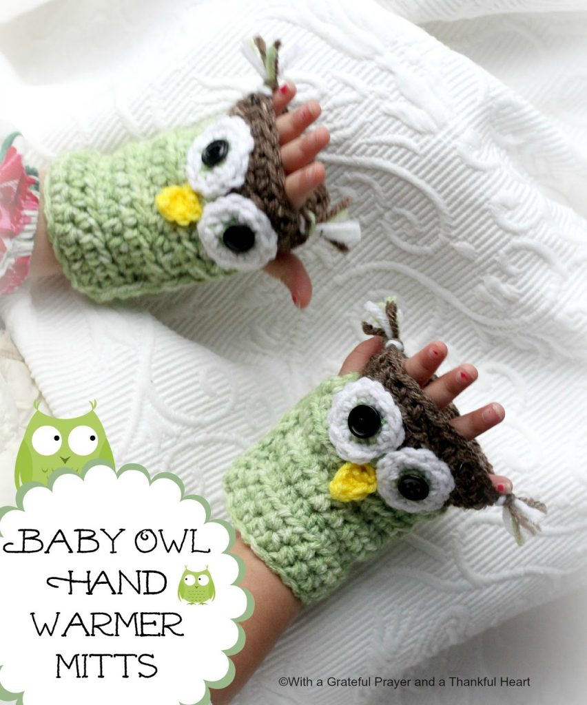 Adorable crochet owl hat with matching hand mitts are so cute. Pattern for making both to keep sweet noggins warm.