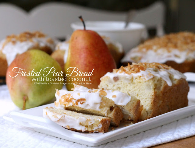 Frosted Pear Quick Bread with Toasted Coconut   Grateful ...