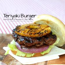Grilled Teriyaki Burger with Pineapple and Red Onion