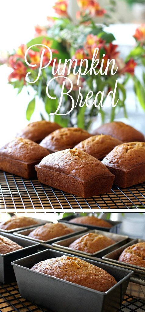 Delicious pumpkin bread full of cinnamon, nutmeg, cloves & ginger. Perfect mini loaves to share with friends. Bake ahead & freeze for Thanksgiving.
