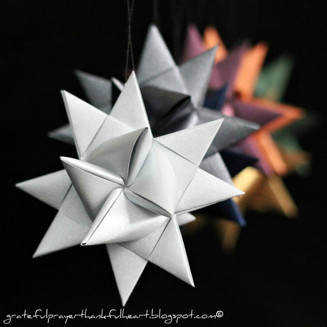 Beautiful folded paper German stars remind many of childhood when they were made at Christmas time. Easy to follow, step by step video tutorial teaches how to make them.