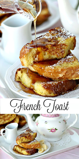 Recipe for no knead bread French Toast for a lovely breakfast or brunch meal.