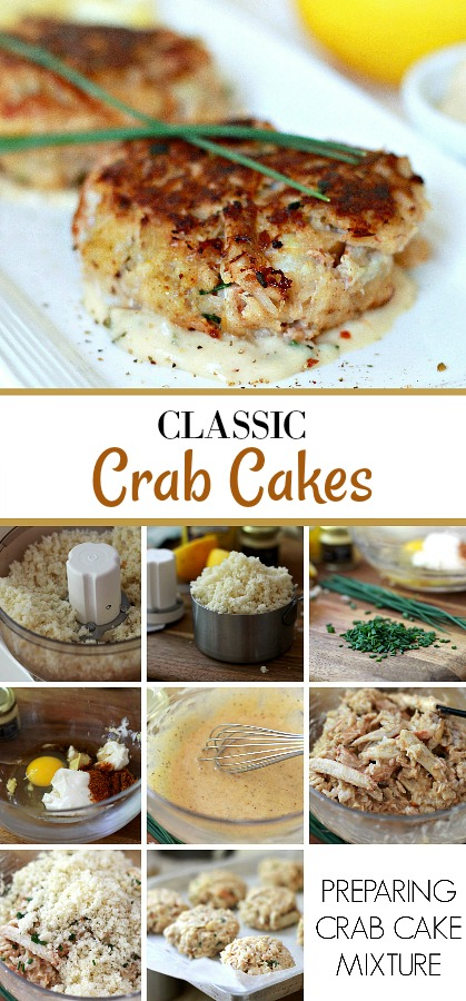 Make classic crab cakes with this easy recipe. After gently tossing ingredients, shape and sauté in butter and olive oil until golden brown. Serve with lemon wedges for a lovely entree.