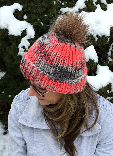 Keep warm with these stylish knitted hats and messy bun with links to easy patterns. Make your own faux fur pompom with easy tutorial.