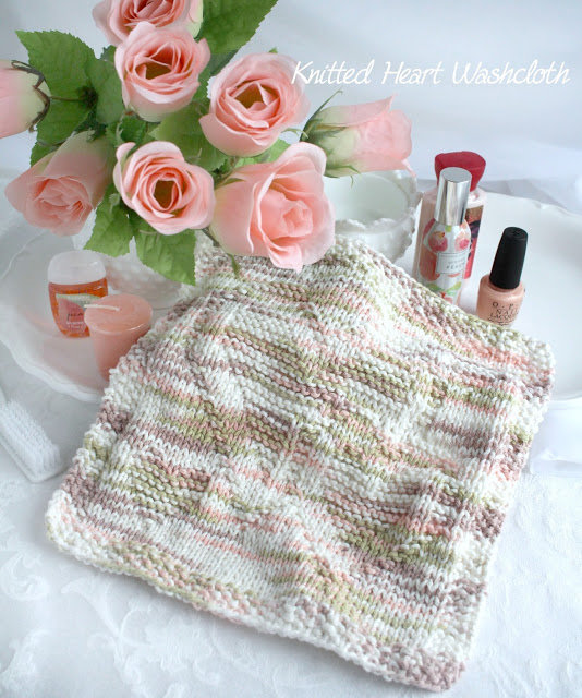 Who doesn't love feeling pampered. Or making someone else feel special. Pretty and practical, I just finished making a Knitted heart wash cloth as a heartfelt gift for a sweet friend. The pattern of hearts is lovely for any occasion but especially cute for Valentine's Day or Mother's Day.