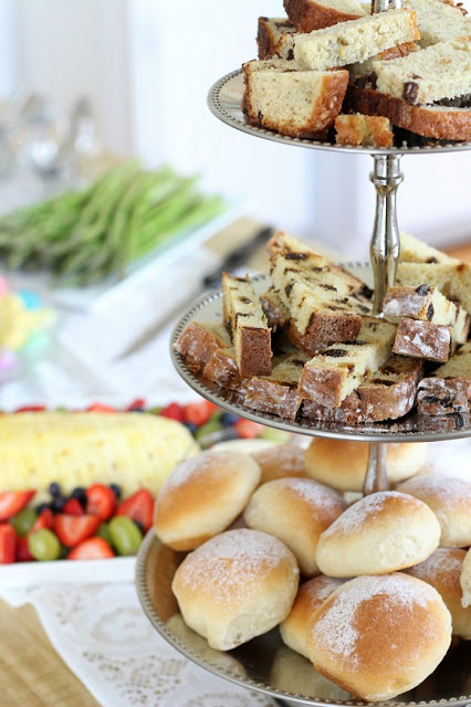 Snowflake rolls and banana bread Easter Brunch menu