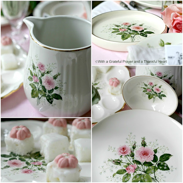 Mother's Day Menu and a Vintage Theme Table as we Remember Mom. Gathering many old rose pottery pieces and boopie glasses from our childhood, I created a vintage tablescape and a Mother's Day Menu any mom would enjoy.