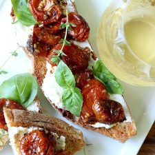 London, England Jamie Oliver Inspired Roasted Cherry Tomato Bruschetta with Creamy Ricotta