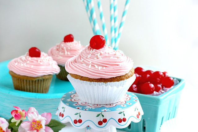 Vanilla Cupcakes with Cherry Buttercream Frosting: Easy recipe for vanilla cupcakes with cherry buttercream frosting. A delicious and fun recipe to make with kids.