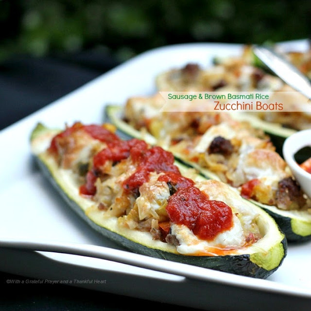 sausage and brown sugar basmati rice zucchini boats