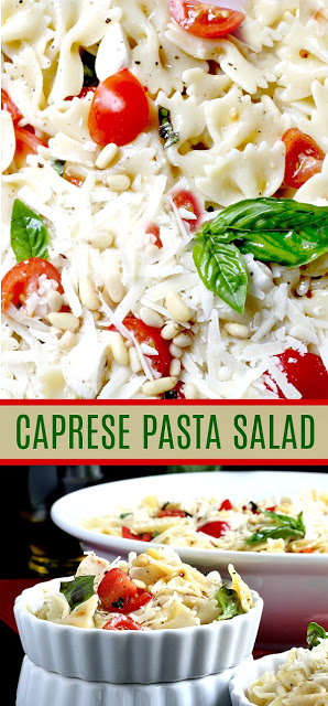 Easy recipe for Caprese Bow Tie Pasta Salad served cold with fresh mozzarella cheese, tomatoes and basil. Perfect for summertime dining.