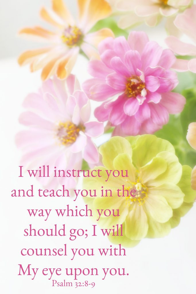 I will instruct you and teach you in the way which you should go; I will counsel you with My eye upon you. Psalm 32:8-9