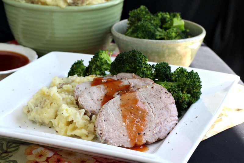 Making an old-fashioned Sunday dinner meal isn't as hard as you think. Serve easy roast pork with sweet & sour sauce, mashed potatoes and steamed broccoli and wait for the smiles.