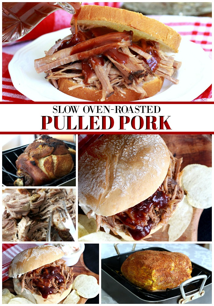 Roast a pork shoulder in oven slow & long for incredibly tender, delicious pulled pork. Pour on barbecue sauce for amazing pulled pork sandwiches!