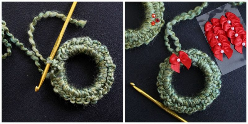 Easy peasy crochet wreath ornaments work up super quickly. Use them to decorate your Christmas tree and gift packages. Inexpensive and cute for teachers, friends and neighbors.
