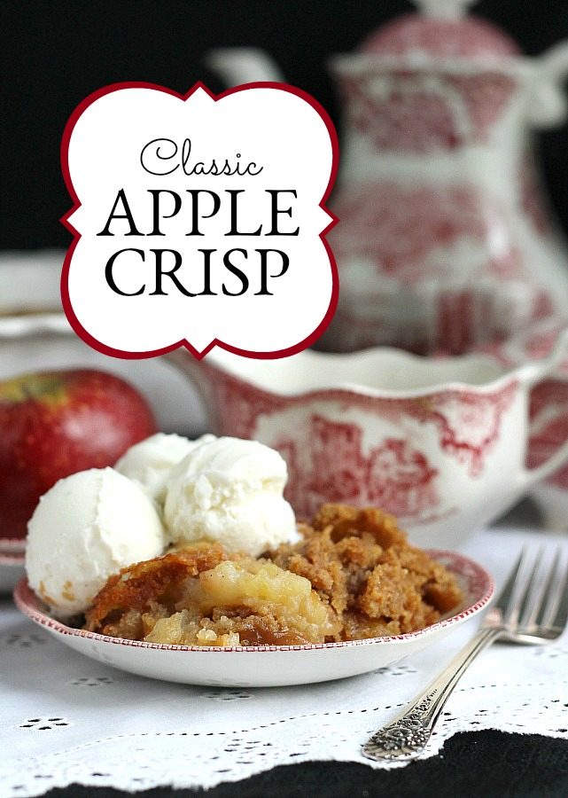 Classic apple crisp is so easy and delicious! A crumb topping of brown sugar and cinnamon over tender apples. Serve warm with a scoop of vanilla ice cream.