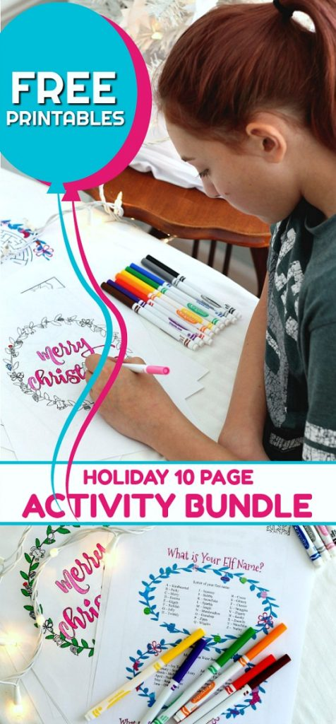 Fun and FREE Christmas Printable Activity Bundle for Kids includes 10 pages of coloring pages, maze, word search, Elf name game and writing prompts. Perfect for a quiet time from the stress and business of the holidays.