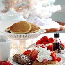 Fluffy Buttermilk Pancakes with Strawberries ~ Breakfast for Dinner