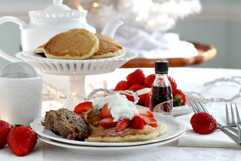 Fluffy Pancakes with Strawberries are a scrumptious treat anytime but are fancy enough for holidays and even for a Breakfast-for-Dinner meal.