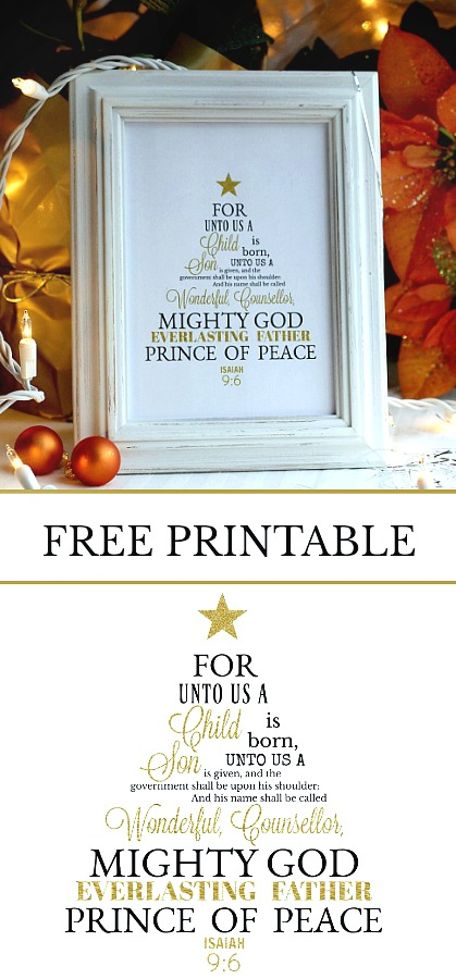 For Unto Us a Child is Born bible verse from Isaiah 6:9. FREE Christmas printable lovely for framing and holiday display and reason for the season reminder.