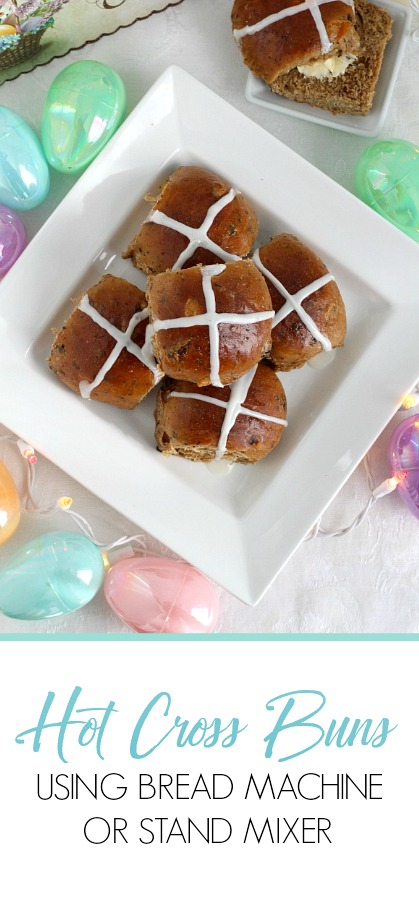 Hot Cross Buns are an Easter tradition and a lovely, sweet breakfast treat with the warm flavor of cinnamon. Dough is made easily in a bread machine (or stand mixer), shaped and baked. Frosting is piped on top in the shape of a cross. Perfect addition for brunch with hard-boiled, colored eggs.