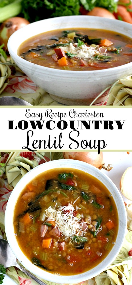 Make a pot of hearty Charleston Lowcountry Lentil Soup. This southern recipe is easy and full of carrots, celery, onion, tomatoes and of course, lentils. Inspired by a visit to Charleston, South Carolina