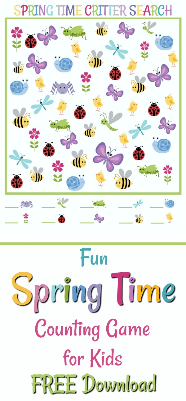 As spring arrives it brings early flowers, little bugs and insects that appear as a harbinger of the season ahead. Kids have an innate curiosity and notice even the smallest creatures. Download the FREE colorful printable, Springtime Critter Search, and let them show you fun things through their perceptive eyes.