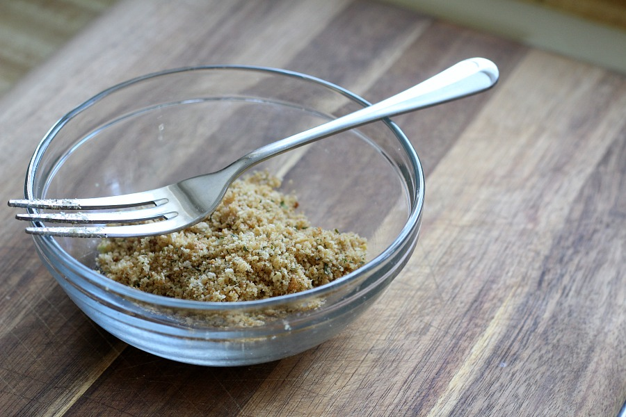 To toast the soft butteredbread crumbs for other uses,put them in a nonstick pan over medium heat on the stovetop.Cook, stirring constantly until browned and somewhat crisp. Now they are ready to top any dish and will retain their crunch longer than plain dry breadcrumbs.