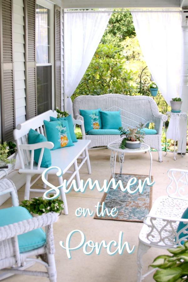 A little updating, easy decorating and sheer curtains give the porch curb appeal. Summer on the porch is the perfect place for quiet time or entertaining.