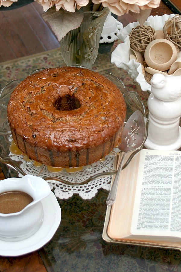 Jeremiah Scripture Cake is a very old recipe once used to teach young girls bible verses while learning to bake. Recipe ingredients are determined by looking up scripture. Burnt Jeremiah Syrup is poured over the delicious cake and then sprinkled with almonds. Can you figure out the recipe?
